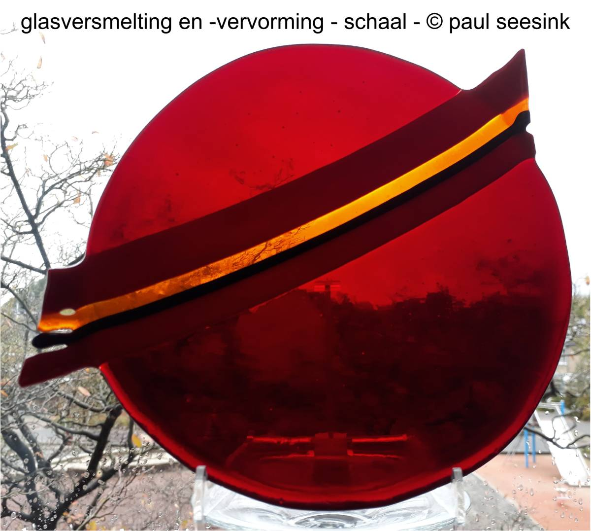 Glas - Schaal. rond rood mt